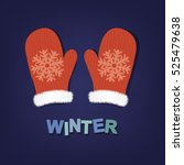 winter poster with mittens ... | Shutterstock .eps vector #525479638