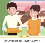 young  jewish couple at shabbat ... | Shutterstock .eps vector #525482944