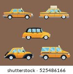 set different taxi car side view | Shutterstock .eps vector #525486166