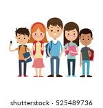 back to school group students... | Shutterstock .eps vector #525489736