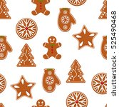 gingerbread. christmas cookies... | Shutterstock .eps vector #525490468