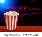 popcorn in classic striped... | Shutterstock . vector #525491233