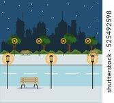 landscape night city street...   Shutterstock .eps vector #525492598