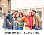 multiethnic group of happy... | Shutterstock . vector #525494788