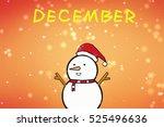 a snowman with a santa hat.... | Shutterstock . vector #525496636