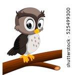Stock vector cute owl cartoon 525499300