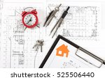 architect workplace top view.... | Shutterstock . vector #525506440