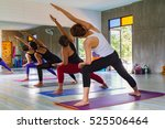 yoga class  group of people... | Shutterstock . vector #525506464