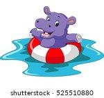 cute hippo cartoon | Shutterstock .eps vector #525510880