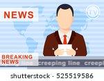 anchorman on tv broadcast news... | Shutterstock . vector #525519586