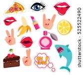 fashion patch badges with lips  ... | Shutterstock . vector #525522490
