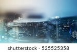 double exposure of city and... | Shutterstock . vector #525525358