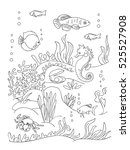 sea bottom coloring book page... | Shutterstock .eps vector #525527908