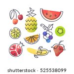 colorful vector icons' set of... | Shutterstock .eps vector #525538099