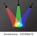 three spotlights  red  green ... | Shutterstock .eps vector #525540670