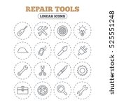 repair tools icons. hammer with ... | Shutterstock . vector #525551248