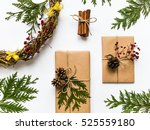 vintage gift boxes in craft... | Shutterstock . vector #525559180