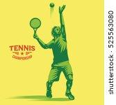 retro tennis player serves the... | Shutterstock .eps vector #525563080