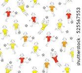 seamless pattern boy playing... | Shutterstock .eps vector #525567553