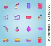 oil production icons set.... | Shutterstock . vector #525567790