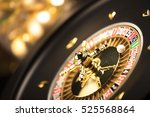 casino theme. golden roulette... | Shutterstock . vector #525568864