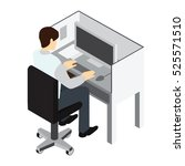 workplace. working on computer. ... | Shutterstock .eps vector #525571510