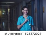 Small photo of woman doctor or nurse is feeling satisfied while working night shift at the hospital