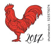 stylized red rooster hand drawn ... | Shutterstock .eps vector #525575074