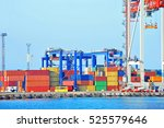 port cargo crane and container... | Shutterstock . vector #525579646