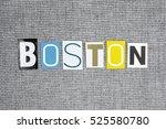 boston word on grey background | Shutterstock . vector #525580780