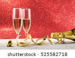 champagne new year red... | Shutterstock . vector #525582718