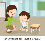 teacher comforting upset... | Shutterstock .eps vector #525587680