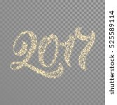 gold glittering 2017 numbers... | Shutterstock .eps vector #525589114