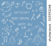vector doodle set of icons on a ... | Shutterstock .eps vector #525593248