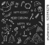 vector doodle set of icons on a ... | Shutterstock .eps vector #525593278