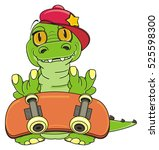cool crocodile in a cap looks... | Shutterstock . vector #525598300
