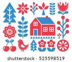 finnish inspired folk art... | Shutterstock .eps vector #525598519