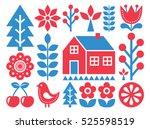 finnish inspired folk art... | Shutterstock .eps vector #525598519