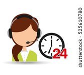 female call center 24 clock... | Shutterstock .eps vector #525610780