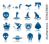 mysterious and horror icon set | Shutterstock . vector #525625804