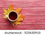 Autumn Leaf With Cup Of Tea On...