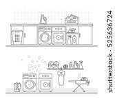 elements for laundry interior ... | Shutterstock .eps vector #525636724