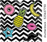 pop art fashion chic patches ... | Shutterstock .eps vector #525637750