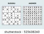 vector sudoku with answer.... | Shutterstock .eps vector #525638260
