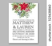 poinsettia winter wedding... | Shutterstock .eps vector #525638860