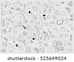 business doodles objects... | Shutterstock .eps vector #525649024