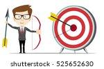 businessman hit the target.... | Shutterstock .eps vector #525652630