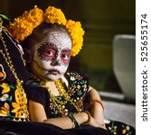 little calaca   beautiful young ... | Shutterstock . vector #525655174