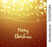golden christmas greeting card... | Shutterstock .eps vector #525655384