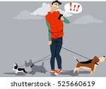 Stock vector man tangled in multiple dog leashes texting for help of a dog walker eps vector illustration 525660619